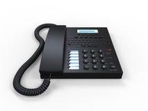 Téléphone noir de SMS de bureau d'isolement sur le fond blanc Photographie stock
