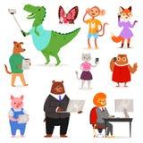 Téléphone ou appareil-photo animalistic de participation de chat ou de chien d'ours de personnage de dessin animé de vecteur d'in Photographie stock libre de droits