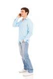Téléphone parlant d'homme Photographie stock libre de droits