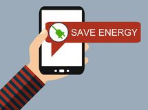 Téléphone portable : Économisez l'énergie - conception plate illustration libre de droits