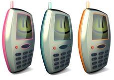 téléphone portable 3 mobile drôle dans 3 couleurs différentes Photo stock