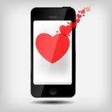 Téléphone portable abstrait avec le vecteur de coeurs Images libres de droits