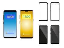 Téléphone portable abstrait d'isolement sur un fond blanc - illustration de vecteur illustration de vecteur