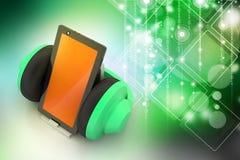 Téléphone portable avec des écouteurs Images stock