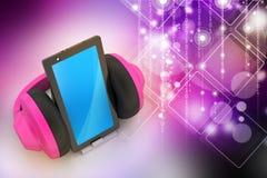 Téléphone portable avec des écouteurs Photos stock