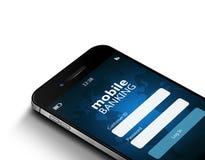 Téléphone portable avec l'écran mobile d'opérations bancaires au-dessus des dollars Photos stock