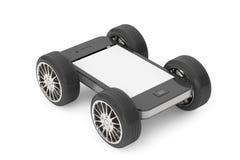 Téléphone portable avec l'écran vide sur des roues photos stock