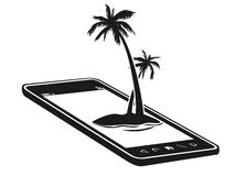 Téléphone portable avec l'île de palmier Photographie stock libre de droits