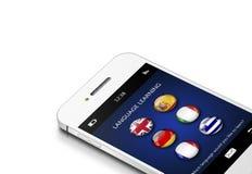 Téléphone portable avec l'application de connaissance des langues au-dessus du blanc Photo stock