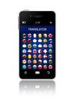 Téléphone portable avec l'application de traducteur de langue au-dessus du blanc Images stock