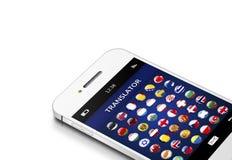 Téléphone portable avec l'application de traducteur de langue au-dessus du blanc Images libres de droits