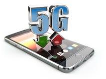 Téléphone portable avec la communication de norme du réseau 5G vitesse possible élevée de disco de fond Image libre de droits