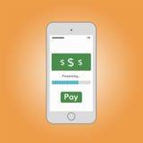 Téléphone portable avec le bouton de salaire Images stock
