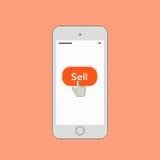 Téléphone portable avec le bouton de vente Photos stock