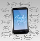 téléphone portable avec le concept social de medias Photos libres de droits