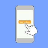 Téléphone portable avec le doigt et Photos stock