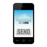 Téléphone portable avec le graphisme de calcul de nuage Image libre de droits