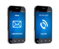 Téléphone portable avec le signe d'appel et de message Image libre de droits