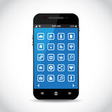 Téléphone portable avec les icônes plates Photos libres de droits