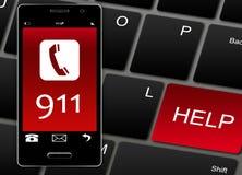 Téléphone portable avec 911 numéros d'urgence au-dessus de blanc Photographie stock libre de droits