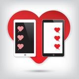 Téléphone portable d'amour avec la causerie de coeur Photographie stock