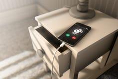 Téléphone portable d'appel d'arrivée à côté de lit illustration de vecteur