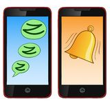 Téléphone portable d'aspiration de main de bande dessinée en mode deux Image libre de droits