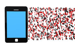 téléphone portable 3d avec le code binaire Photo stock