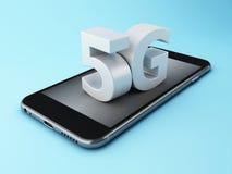 téléphone portable 3d avec le signe 5G Images libres de droits