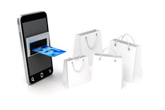 téléphone portable 3d et carte de crédit Images libres de droits
