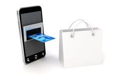 téléphone portable 3d et carte de crédit Image libre de droits