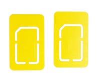 2 téléphone portable d'isolement SIM Card Images stock