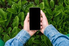 Téléphone portable dans des mains un jeune homme d'affaires de hippie Photographie stock