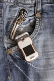 Téléphone portable dans la poche Photo libre de droits