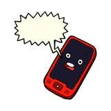 téléphone portable de bande dessinée avec la bulle de la parole Photographie stock