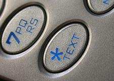 Téléphone portable de bouton de message avec texte Images libres de droits