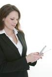 Téléphone portable de composition de femme photographie stock libre de droits