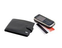 téléphone portable de crédit de carte Image libre de droits