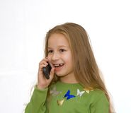 téléphone portable de fille images stock