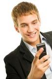 Téléphone portable de fixation d'homme Images libres de droits