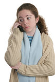 Téléphone portable de l'adolescence - surprise Photo libre de droits