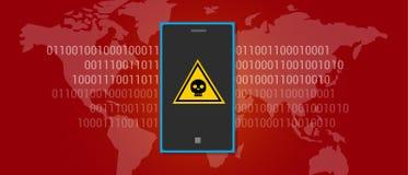 Téléphone portable de malware de virus de données d'Internet Photos stock