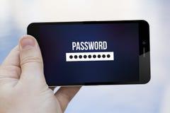 Téléphone portable de mot de passe Image libre de droits