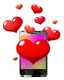 Téléphone portable de Valentine Photos stock
