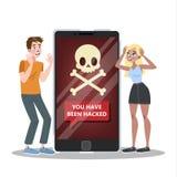 Téléphone portable entaillé Attaque de virus sur le smartphone illustration libre de droits