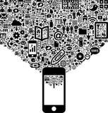 Téléphone portable et ensemble de signes Photo libre de droits