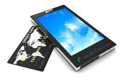 Téléphone portable et par la carte de crédit Image stock