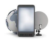 Téléphone portable, globe de la terre et satellite illustration de vecteur