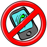 Téléphone portable interdit Photo stock