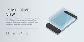 Téléphone portable isométrique minimalistic de l'illustration 3d de vecteur Vue de point de vue Image libre de droits